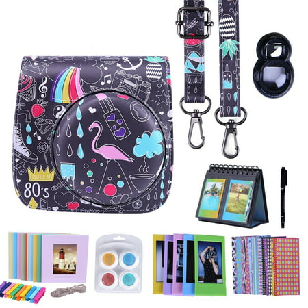 HDE Fujifilm Instax Mini 9 or 8/8+ Camera Case Accessories Box Kit Includes Leather Mini 9 Case + Strap/Fuji Album/Selfie Lens/ Hanging + Creative Frames/Border Stickers/ Pen & More (Retro - Fuji Box
