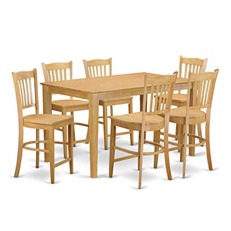 height pub set high top table and 6 counter height dining chair