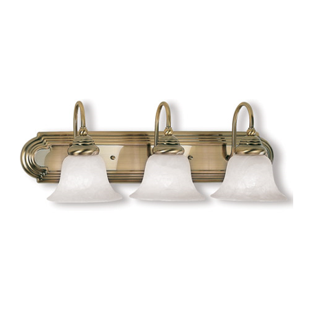 Bathroom Vanity 3 Light With White Alabaster Glass Antique Brass size 24 in 300 Watts - World of Crystal Brass Alabaster White Glass