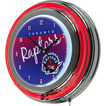Toronto Raptors Hardwood Classics NBA Chrome Neon Clock by