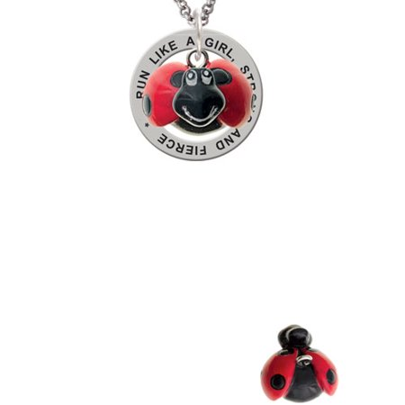 Bug Necklace (Resin Red & Black Ladybug Sweetie Run Like A Girl Affirmation Ring)