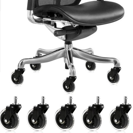5 Inch Swivel Wheels (5 pcs 3 inch Wheel 11mm Generic Fit Stem,Chair Casters Wheels Replacement Set,All Floors Suitable Office Gaming Furniture Swivel Caster Wheel HITC )