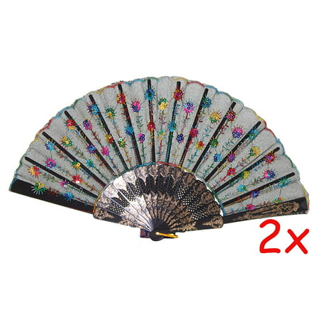 2 Chinese Black and Colorful Design Party Gift Lace Floral Folding Hand Held Fans