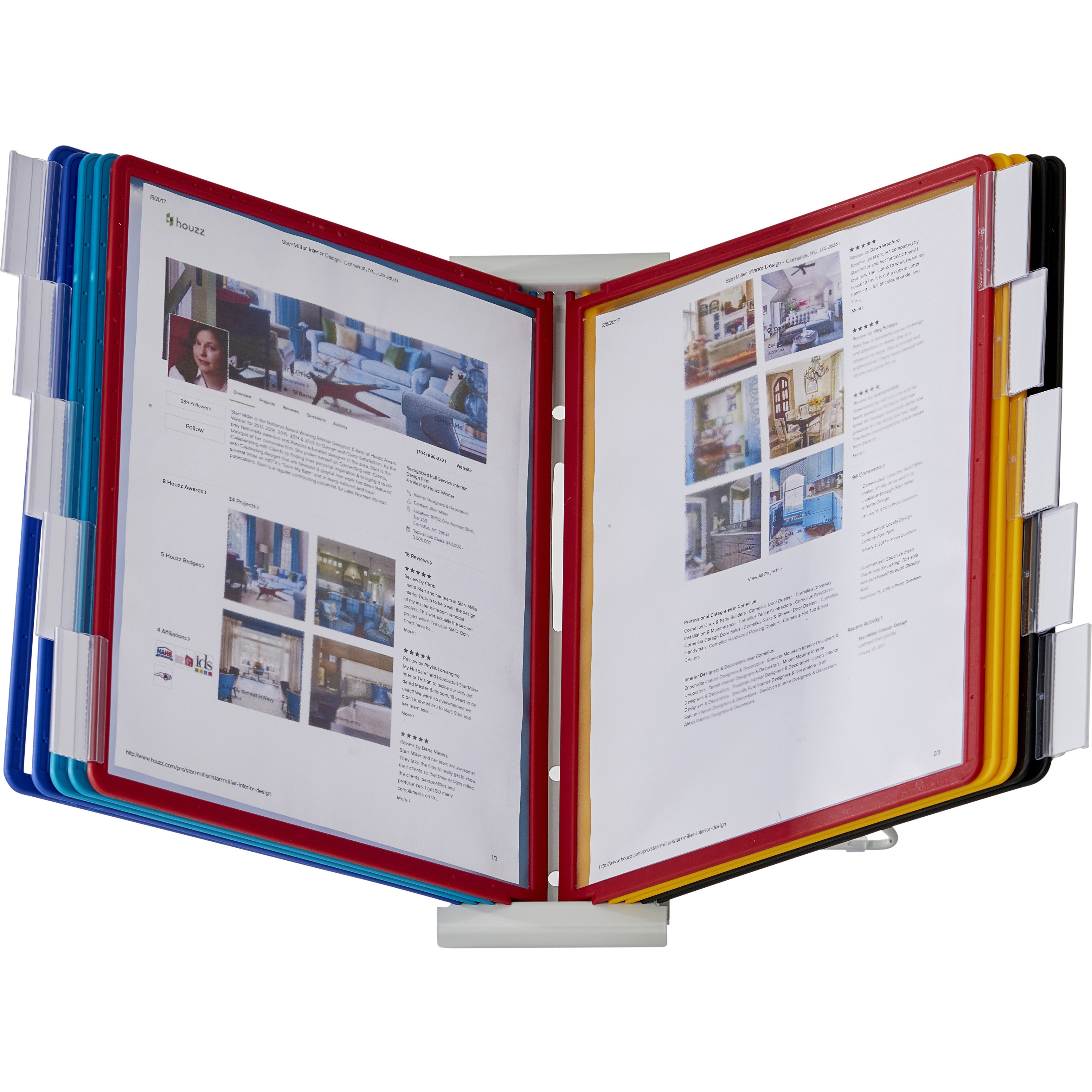 Durable InstaView Expandable Desktop Reference System with Assorted Borders, 10 Panels