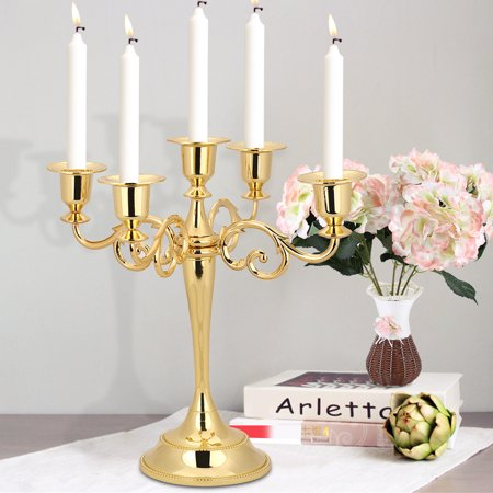Metal Candle Holder 5-arms Candle Stand Vintage Candle Holder Wedding Event Candelabra Candle Stick(Gold)