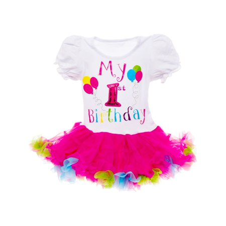 Silver Lilly Girls 'It's My Birthday' Tutu Dress Outfit (Multi Color, 1