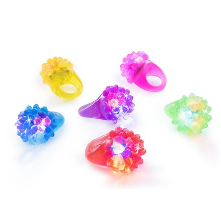 Flashing Colorful LED Light Up Bumpy Jelly Rubber Rings Finger Toys Party Favors (18 Pack) by Super Z - Jelly Rings