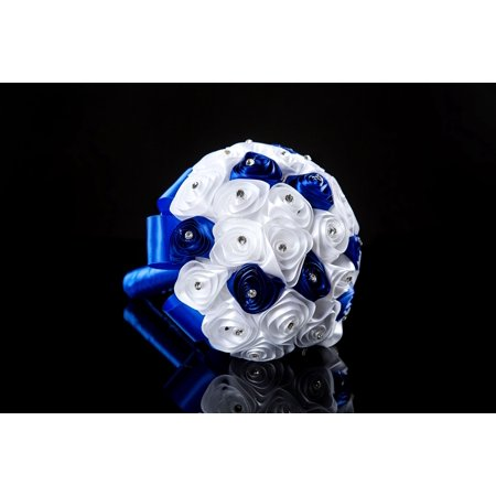 Wedding Bouquet White And Royal Blue Roses Bridesmaid/Toss Bouquet Forever Preserved - Wedding Gift