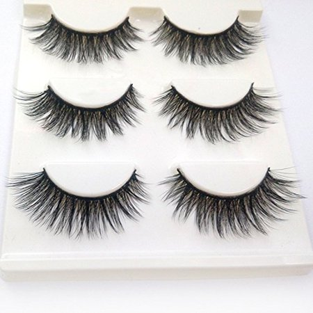 3D Fake Eyelashes Makeup Hand-made Dramatic Thick Crisscross Deluxe False Lashes Black Nature Fluffy Long Soft Reusable 3 Pair Pack Black 3 Pair Pack