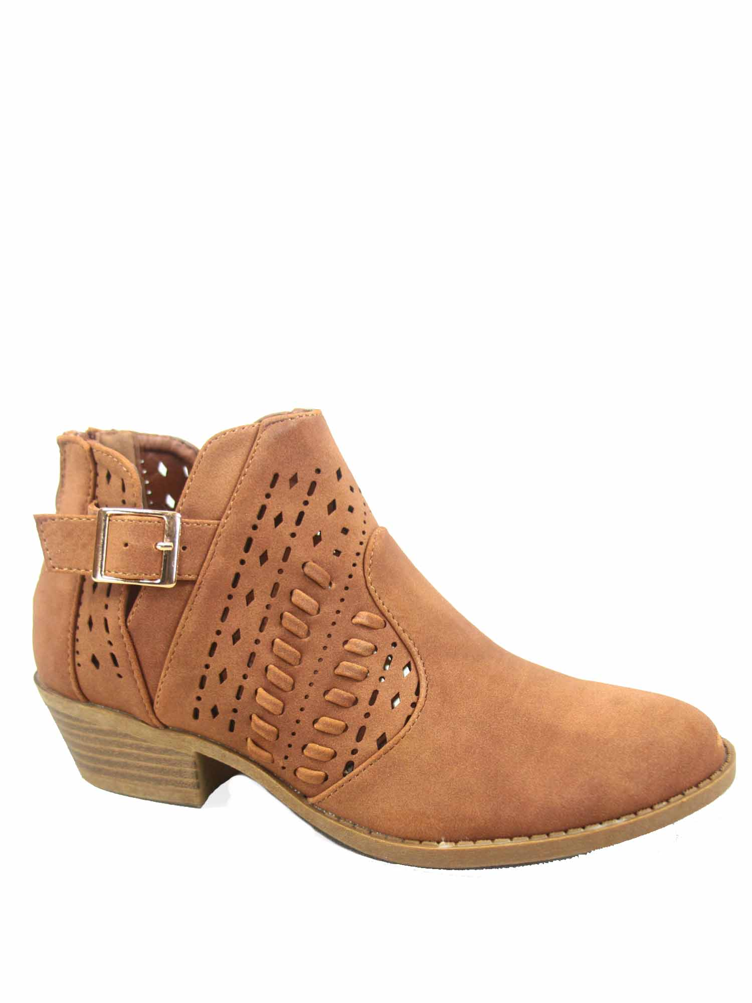Women's Round Toe Zipper Buckle Perforated Faux Leather Low Heel Ankle Booties