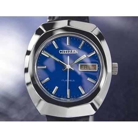 Citizen Vintage Mens Blue 17 Jewels Manual Wind 1970s Japanese Watch 7074