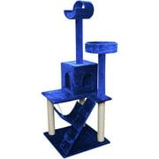 """Premium Cat Tree Tower Condo Scratch Furniture, 58"""", Blue and White"""