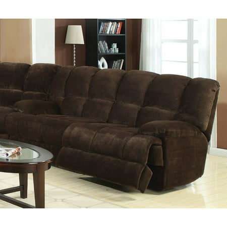 ACME Ahearn Reclining Sofa in Chocolate Champion Fabric Chocolate Reclining Sofa