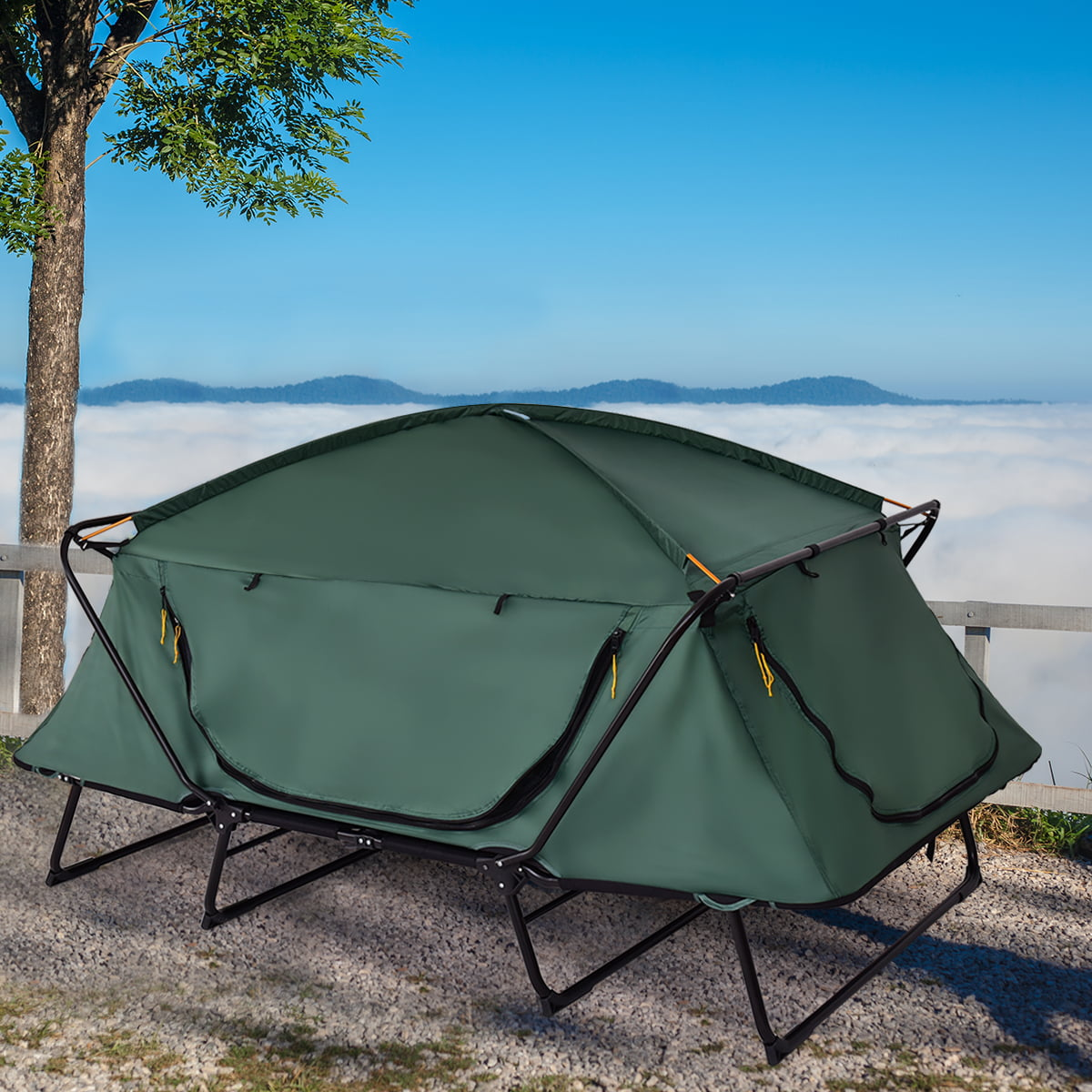 Gymax 2 Person Folding Hiking Outdoor Elevated Camping Tent Cot Waterproof w  Carry Bag by Gymax