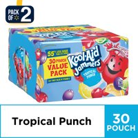 (2-pack) Kool-Aid Jammers Tropical Punch Flavored Drink, 30 ct - 6 fl oz Pouches