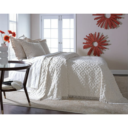 DIAMOND TUFTED CHENILLE BEDSPREAD AND PILLOW SHAM SET, ALL COTTON, TWIN SIZE, - Cotton Chenille Shams