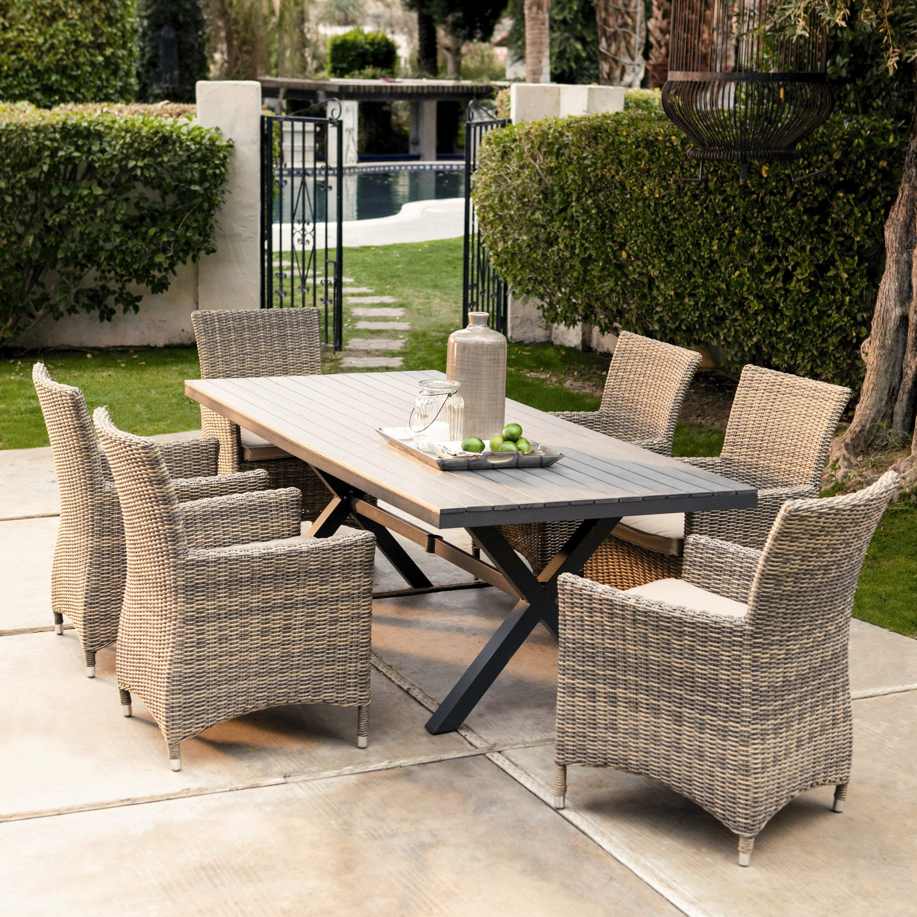 Belham Living Bella All Weather Wicker 7 Piece Patio Dining Set   Seats 6    Walmart.com