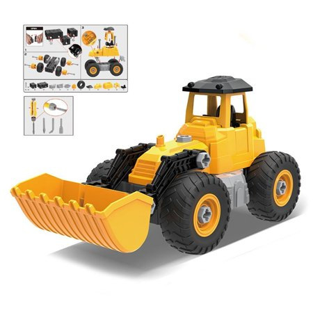 Build Toy (Construction Truck 5 IN 1 DIY (71pcs) Engineering, Tractor, Build your own kit construction, Toy Vehicle, Bulldozer, Cowcatcher, Cement Roller, Truck crane, Lift)