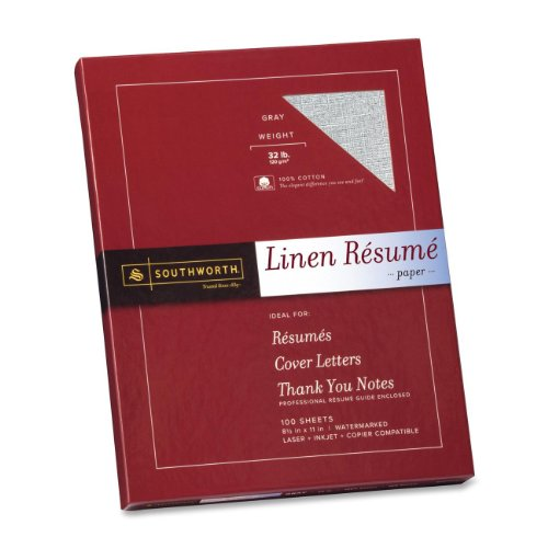 "Southworth Copy & Multipurpose Paper - Letter - 8.50"" X 11"" - 32 Lb - Recycled - Linen - 100 / Box - Gray (RD18GCFLN)"