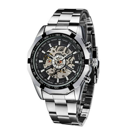 WINNER Fashion Semi-Automatic Mechanical Watch Skeleton See-through Dial Hand-winding Top Luxury Brand Men