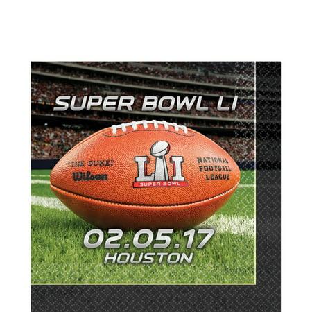 Amscan Super Bowl LI 51 NFL Stadium Football 13in Luncheon Napkins, 16
