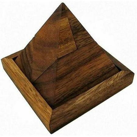 5 Piece Pyramid Wooden Puzzle Brain (Pyramid Brain Teaser)