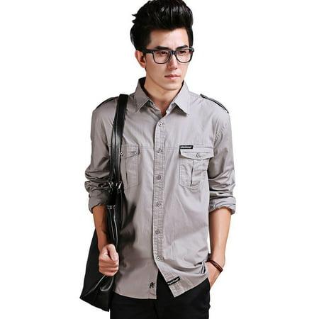 Leo&Lily Men's Casual Cotton Shirt Long Sleeve Button-Down Dress Shirt XL Black