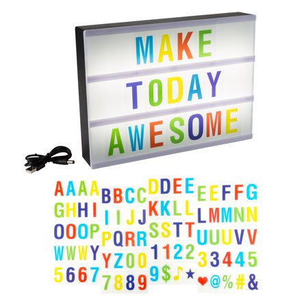 Light Box with 85 Letters, Numbers and Symbols LED Cinematic Light Box A4 Size with USB