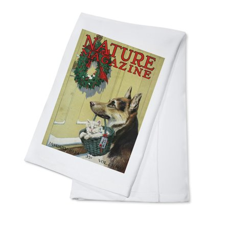 Nature Magazine - German Shepherd Holding a Kitten in a Basket in its Mouth - Vintage Magazine Cover (100% Cotton Kitchen Towel)