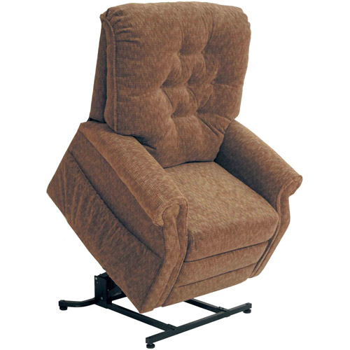 Quest Malcom Power Lift Full Lay-Out Chaise Recliner, Chestnut