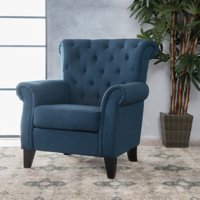 Noble House Logan Dark Blue Fabric Tufted Accent Chair