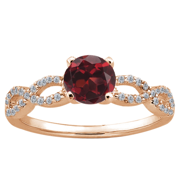 1.10 Ct Round Red Hydro Garnet 925 Rose Gold Plated Silver Ring