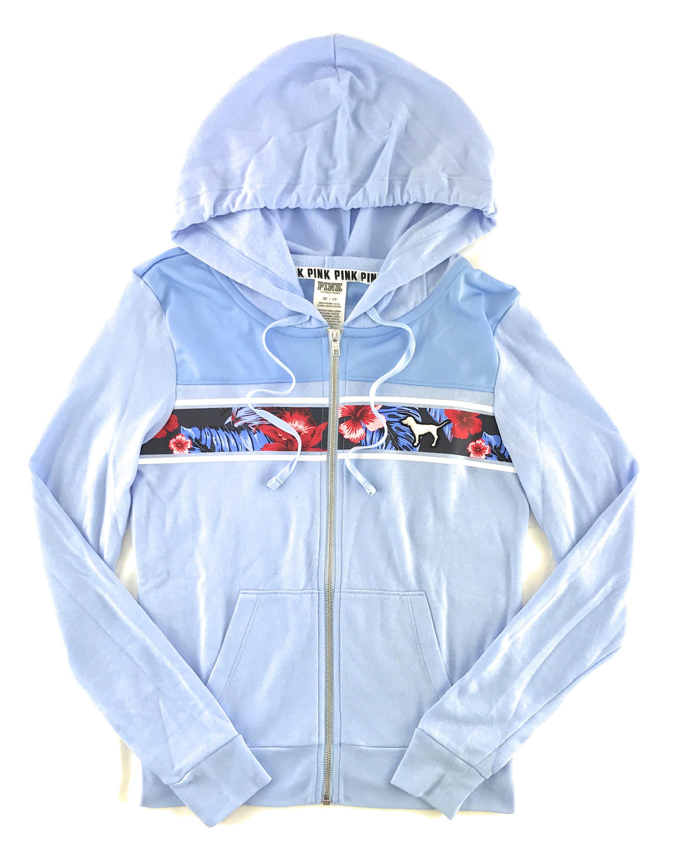 Victoria/'s Secret PINK Floral Black Grey Full Zip Perfect Hoodie Jacket S NEW
