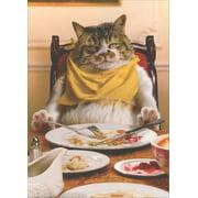 Avanti Press Fat Cat Asleep At Table Funny / Humorous Thanksgiving Card