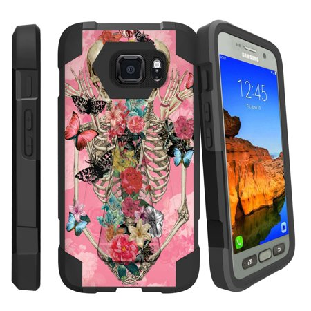 Case for Samsung S7-ACTIVE   S7-ACTIVE Hybrid Cover [ Shock Fusion ] High Impact Shock Resistant Shell Case + Kickstand - Rose Flower Skeleton