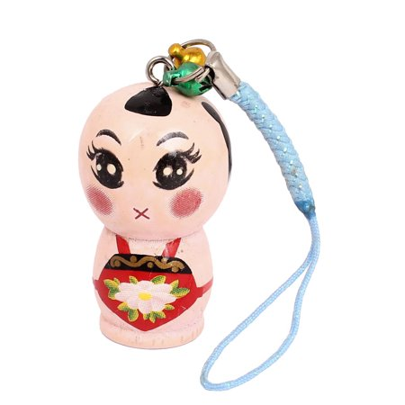 - Wood Pale Pink Chinese Doll Style Ornament Pendant Mobile Phone Blue Straps