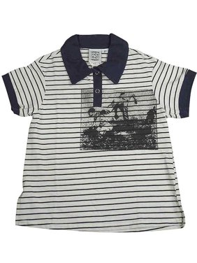 Cozy Toes - Little Boys Short Sleeved Polo Blue Stripe / 2T