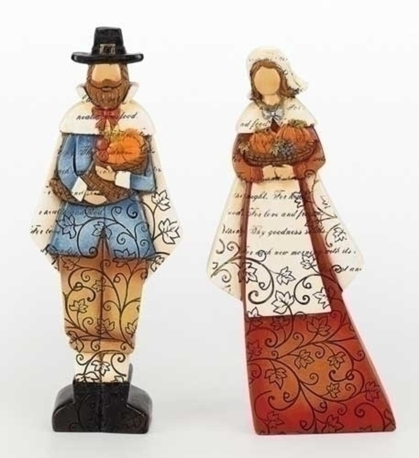 Set of 2 Thanksgiving Autumn Harvest Pilgrim Man and Woman Figures with Verse 9""