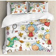 Fairy Duvet Cover Set, Cartoon Princess Pattern with Magic Wand Dragon Dress Unicorn and Crown Little Child, Decorative Bedding Set with Pillow Shams, Multicolor, by Ambesonne