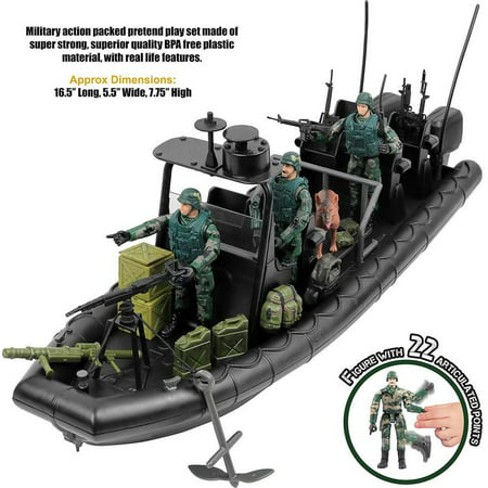 Click N' Play Military Special Operations Combat Dinghy Boat 26 Piece play set With