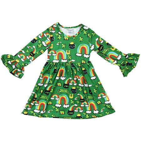 Little Girl Kids Long Sleeve Ruffle Rainbow Print Flower Girl Dress Green 2T XS 201192 BNY - Girls Green Dresses