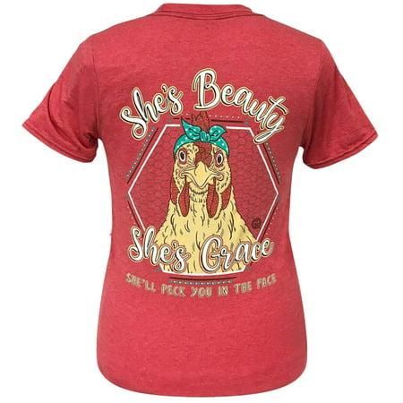Girlie Girl Originals Beauty Grace Hen Short Sleeve T-Shirt-Heather Red-xxl](Girlie Girl Wholesale)