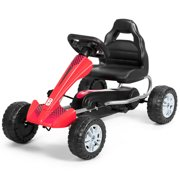 Costway Pedal Go Kart Kids Ride On Car Powered 4 Wheel Racer Toy w/ Adjustable Seat Red