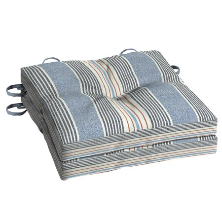 Better Homes & Gardens Hickory Stripe 15 x 15 in. Outdoor Bistro Cushion with EnviroGuard, Set of 2 ()