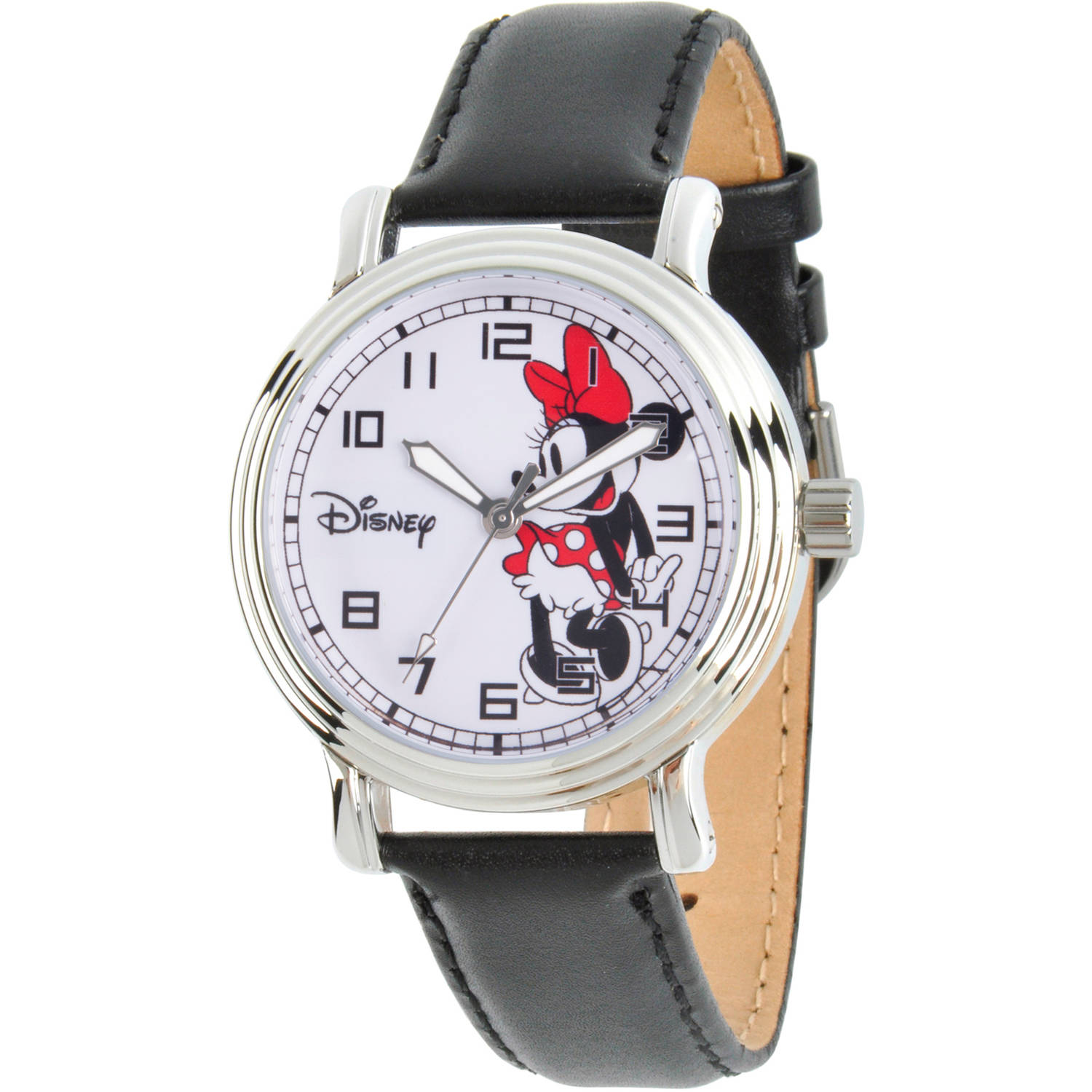 Disney Minnie Mouse Women's Silver Vintage Alloy Watch, Black Leather Strap