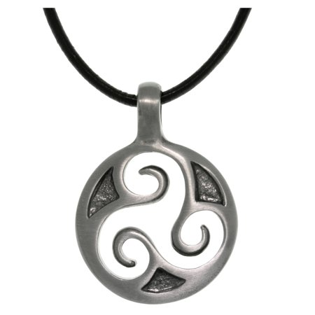 Pewter Unisex Celtic Triskelion Spiral Pendant with 18 Inch Black Leather Cord Necklace 18 Black Leather Cord Necklace