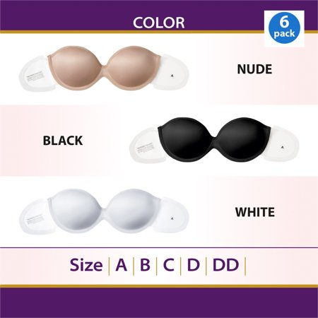 6 Pack Perfect Strapless Self Adhesive Silicone Invisible Push-up