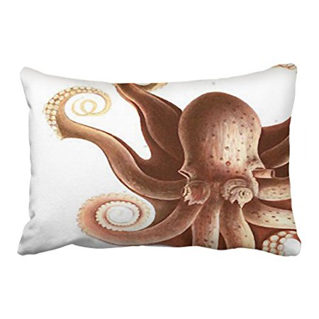 WinHome Rectangl Throw Pillow Covers Vintage Giant Red Squid Octopus Nautical Theme Pillowcases Polyester 20 x 30 Inch With Hidden Zipper Home Sofa Cushion Decorative Pillowcase (Giant Red Octopus)