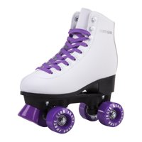 Cal 7 Roller Skates for Indoor & Outdoor Skating, Faux Leather Boot with Quad Design, Adults & Kids (Black, Youth 2)