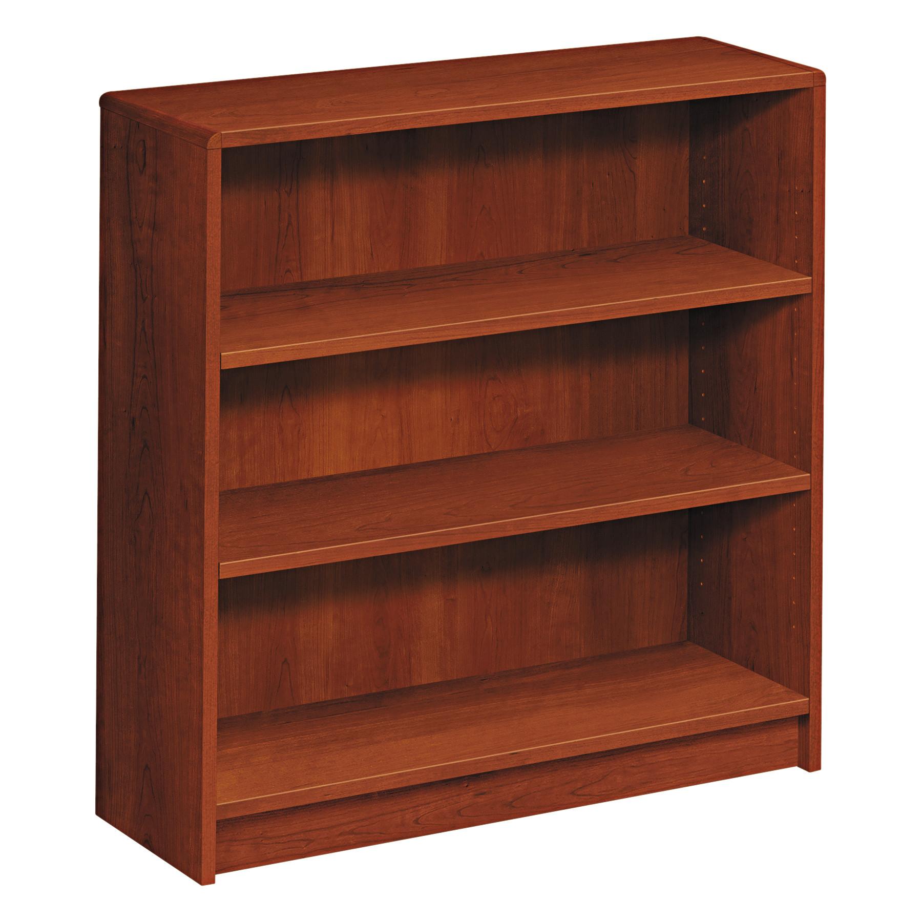 HON 1890 Series Bookcase, Three Shelf, 36w x 11 1/2d x 36 1/8h, Cognac